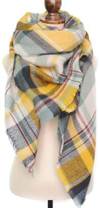 a3c7405726 WAYNE FINKELSTEIN Women s Winter Soft Plaid Tartan Checked Scarf Large  Blanket Wrap Shawl Red-green