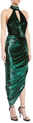 Milly Jana Metallic Velvet Asymmetric Wrap Dress