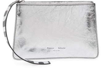 Proenza Schouler Small Logo Strap Metallic Leather Pouch