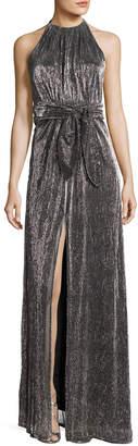 Halston Sleeveless Halter-Neck Textured Metallic Evening Gown