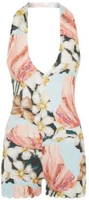 La Perla Knitwear Multicolour Floral Cashmere Halterneck Playsuit