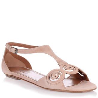 Alaia Nude suede flat sandal