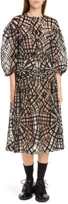 Simone Rocha Pintuck Web Tulle Midi Dress