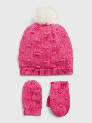 Gap Popcorn-Knit Beanie Mitten Set