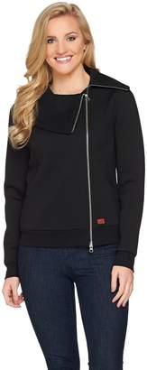 Peace Love World Asymmetric Zip-Front Scuba Knit Jacket