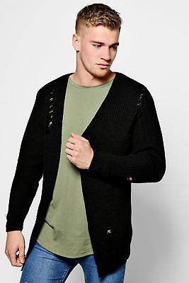 boohoo Mens Chunky Longline Cardigan With Distressing