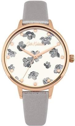 Cath Kidston Grove Ditsy Gloss Floral Print Grey Metallic PU Strap Ladies Watch