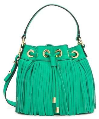 Milly Essex Fringe Small Drawstring Leather Handbag