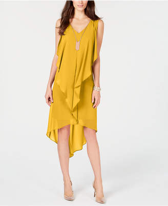 Thalia Sodi High-Low Flutter Dress with Necklace