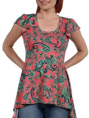 24/7 Comfort Apparel Women's Scout Hi Lo Pink Print Tunic Top