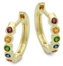 Meira T Rainbow Multi-Stone & 14K Yellow Gold Hoop Earrings