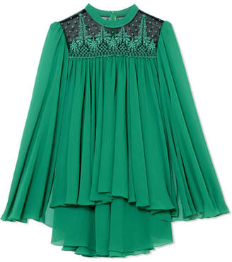 Philosophy di Lorenzo Serafini Cape-effect Embroidered Tulle-paneled Chiffon Top - Jade