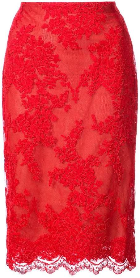 Marchesa lace overlay pencil skirt