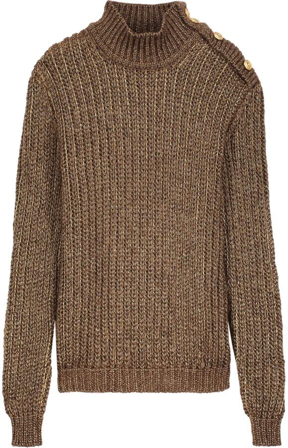 BalmainBalmain Metallic open-knit mohair blend turtleneck sweater