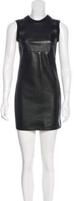 Alexander Wang Leather-Paneled Merino Wool-Blend Dress Black Leather-Paneled Merino Wool-Blend Dress