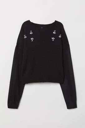 H&M Bead-patterned Knit Sweater - Black