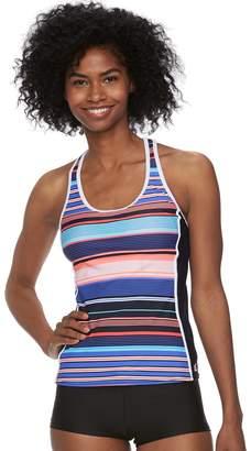 ZeroXposur Women's Striped Racerback Tankini Top