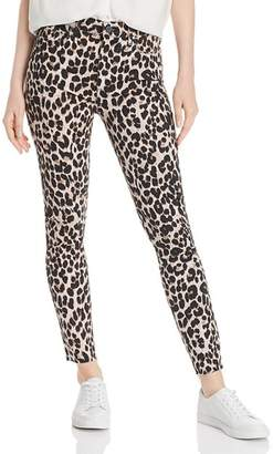 Paige Hoxton Raw-Hem Ankle Jeans in Pink Leopard