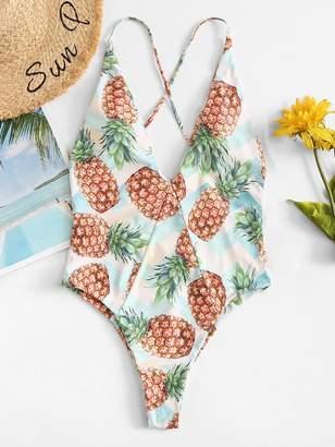 Shein Plus Pineapple Print Criss Cross One Piece Swimsuit