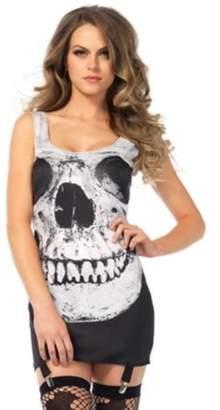 Leg Avenue Skull Garter Dress (Black/White;Small/Medium)