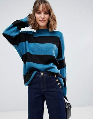 Glamorous oversized knitted sweater in tonal stripe