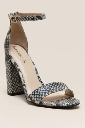 francesca's Yvonne Snake Print Block Heel - Black/White