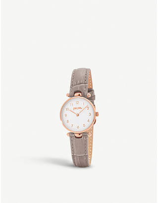Folli Follie Lady Club rose gold-plated and leather watch