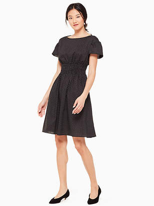 Kate Spade Pin dot scallop poplin dress