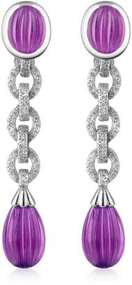Roma Imperiale Carved Gemstone 18K Gold and Diamond Drop Earrings