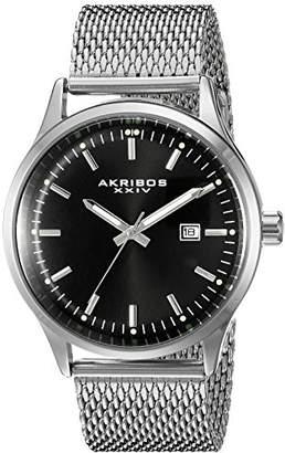 Akribos XXIV Men's AK901SSB Black Dial Silver-Tone Quartz Stainless Steel Mesh Bracelet Watch