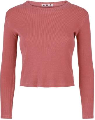 Amo Denim Ribbed Long Sleeve Cropped Top