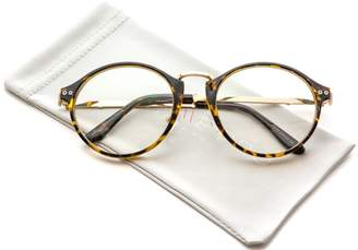 clear WearMe Pro - Oversized Retro Round Accent Glasses