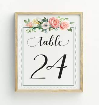 Darling Souvenir Calligraphy 1-40 Floral Table Numbers Wedding Reception Décor Table Cards (4x6 Inches)