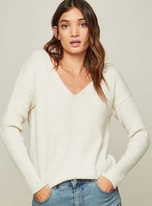 Miss Selfridge Cream tie back knitted jumper