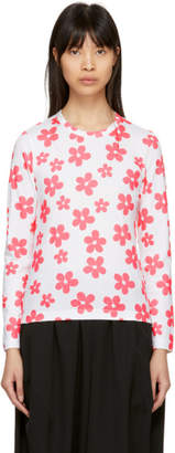 Comme des Garcons White and Pink Flower T-Shirt