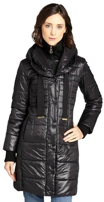 T Tahari black 'Paula' knit collar hooded ruched side coat