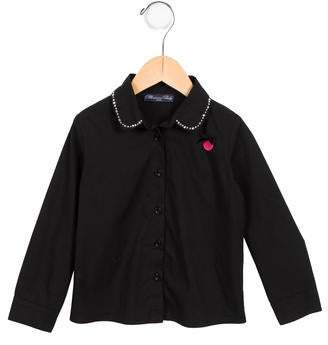 Blumarine Girls' Embellished Button-Up Top