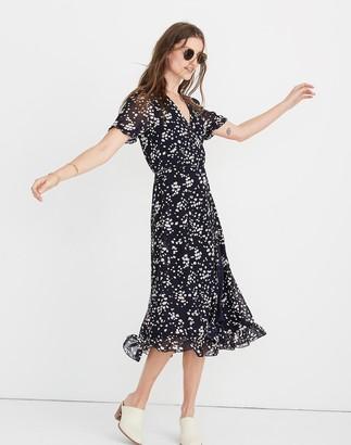 Madewell Ruffle-Edge Wrap Dress in Drifting Petals