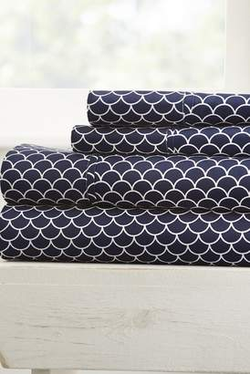 IENJOY HOME Home Spun Premium Ultra Soft Scallops Pattern 4-Piece Full Bed Sheet Set - Navy