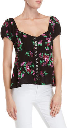 Free People Close to You Floral Button Front Top