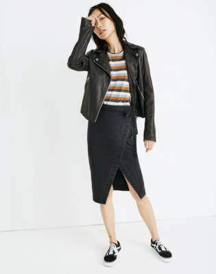 Madewell Denim Midi Wrap Skirt in Lunar Wash