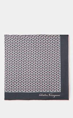 Salvatore Ferragamo Men's Gancio-Print Silk Twill Pocket Square - Gray