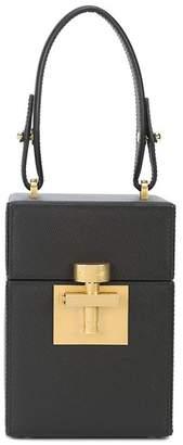 Oscar de la Renta Black Gold Saffiano Mini Alibi Bag