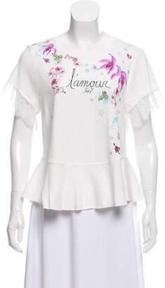 Cinq à Sept Lace-Trimmed Short Sleeve T-Shirt