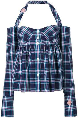 Natasha Zinko plaid halterneck top
