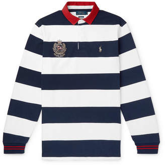 Polo Ralph Lauren Twill-Trimmed Striped Cotton-Jersey Rugby Shirt