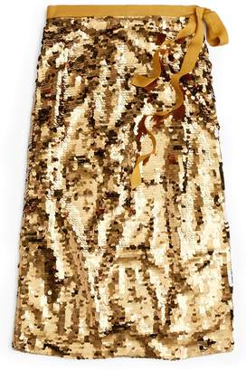 J.Crew Sequin Midi Skirt with Tie