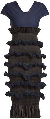 Tamara contrast-panel ruffled silk dress