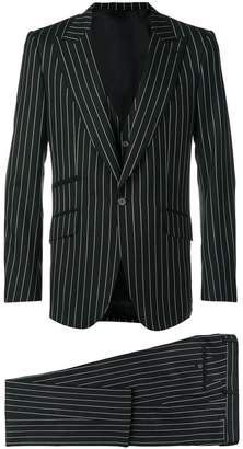 pinstriped three-piece suit