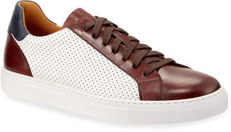 Magnanni Men's Boltan Two-Tone Perforated Leather Low-Top Sneakers
